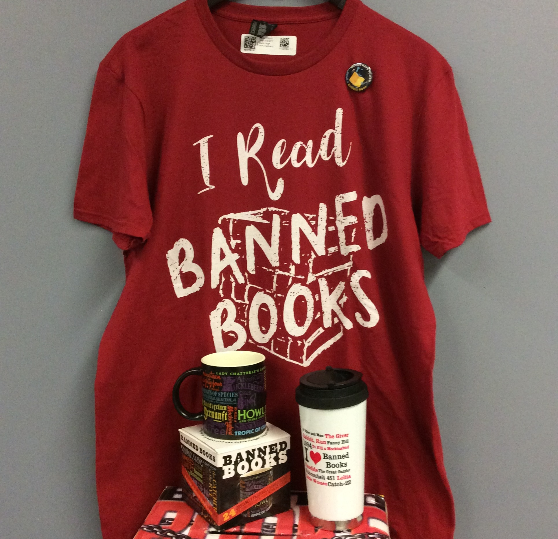 Banned Books Week 2017 giveaway prizes.