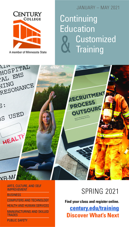 Updated cover of the Continuing Education and Continuous Training Catalog for spring 2021.