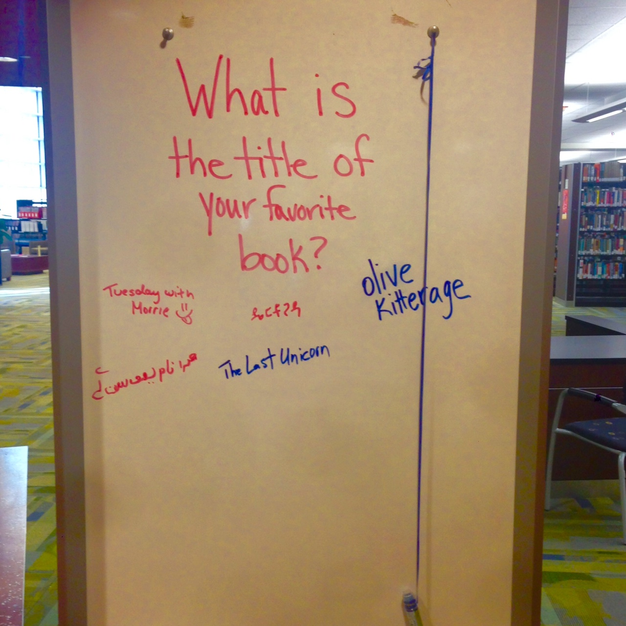 Library white board.