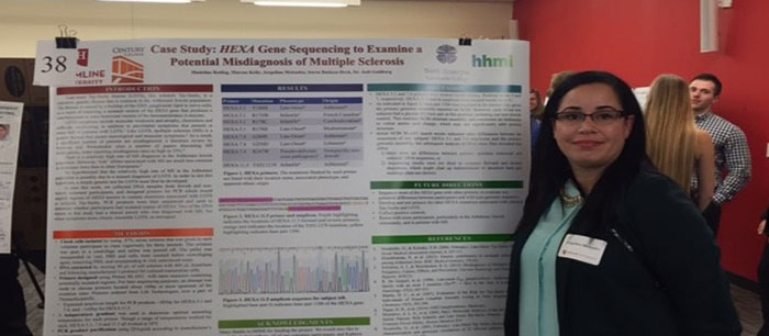 Biology student at conference