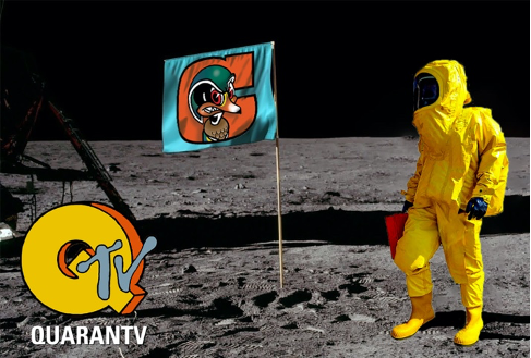 Image of the Man on the Moon with QuaranTV logo & Century College Logo flag..