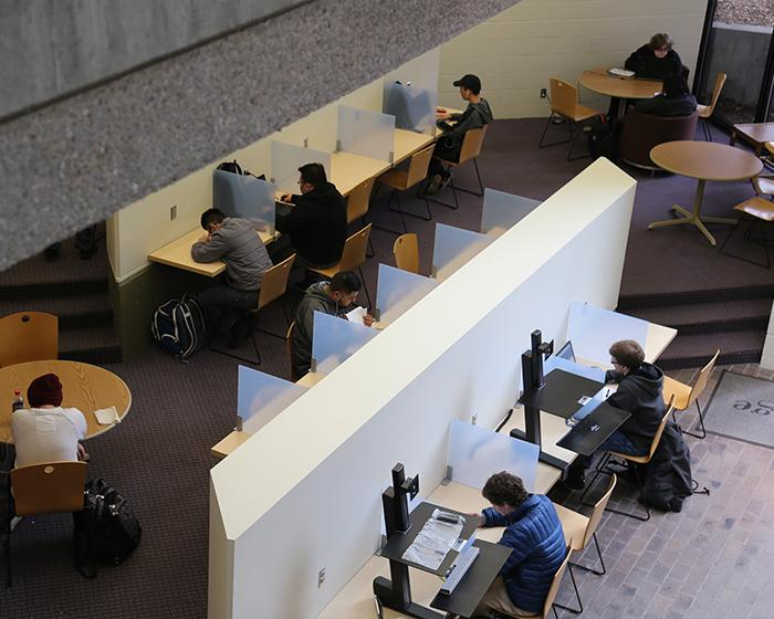 Overhead view of students studying on West Campus.