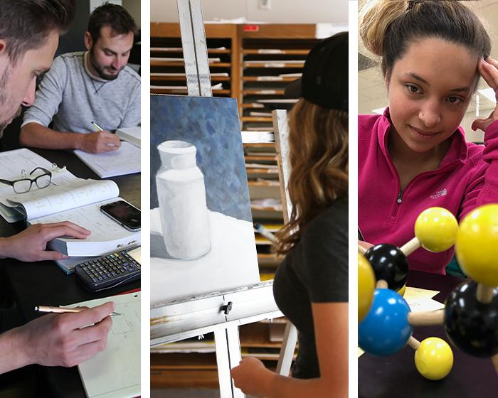 Three photos: two students working on homework using graphing calculators, student in painting class, and a student in chemistry class.