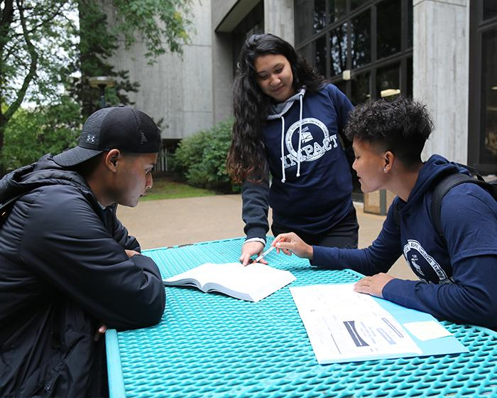 Group of IMPACT Program students wearing IMPACT t shirts and studying outside on a bright blue picnic table.