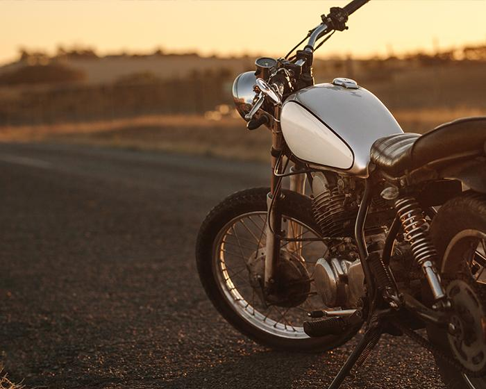 Motorcycle on a road during Golden Hour