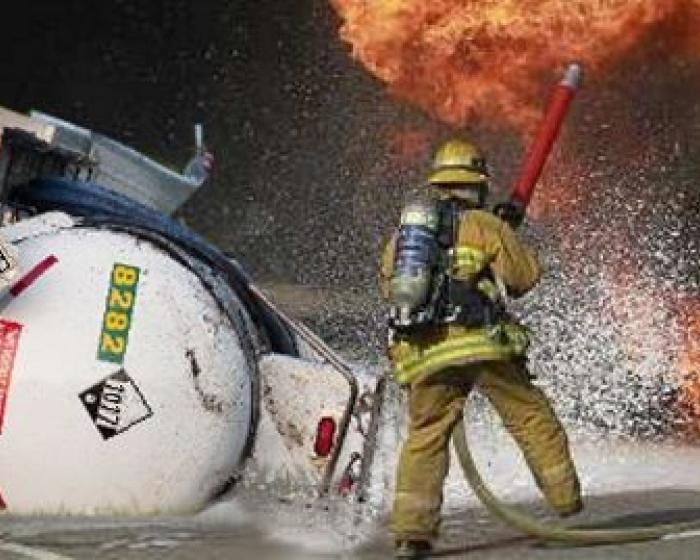 Hazardous material spill with firefighter