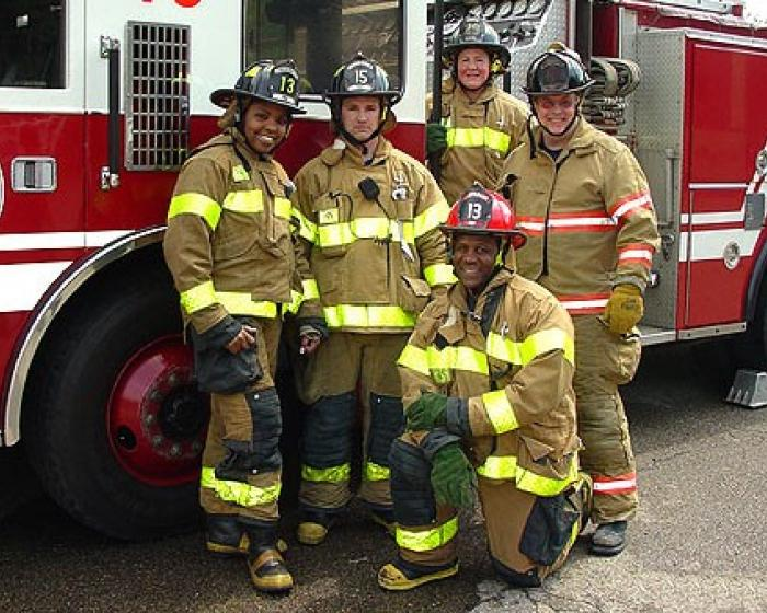Smiling firefighters