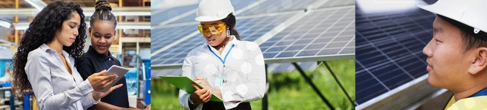 Three images of students working in the Solar and Renewable Energy field