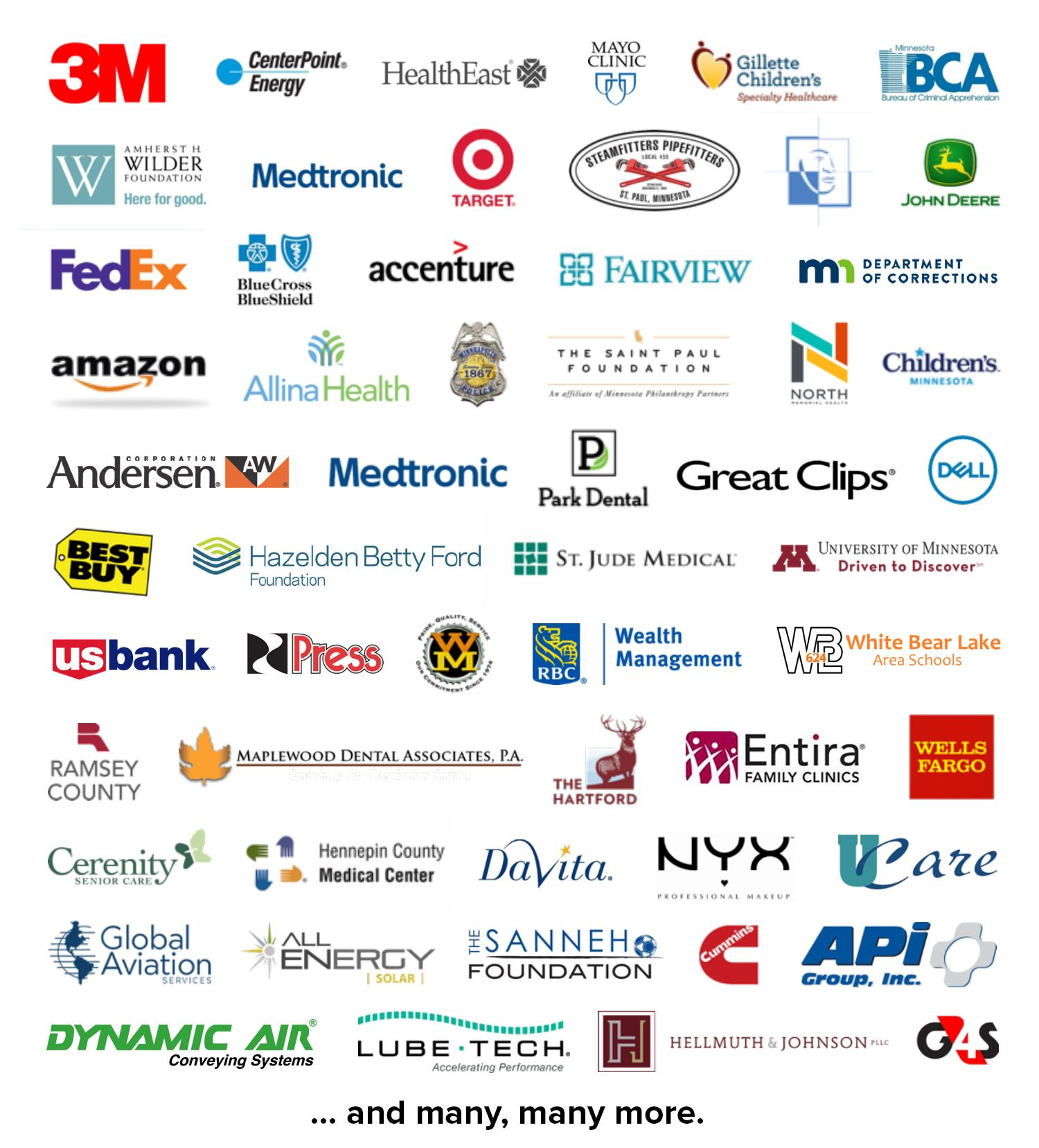 sample list of employer logos where century graduates work