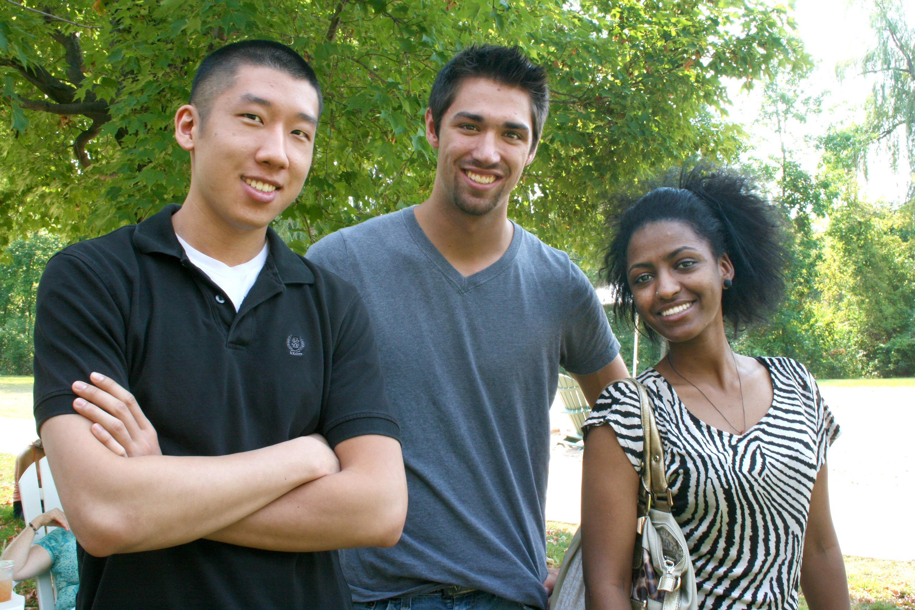 group shot of three students