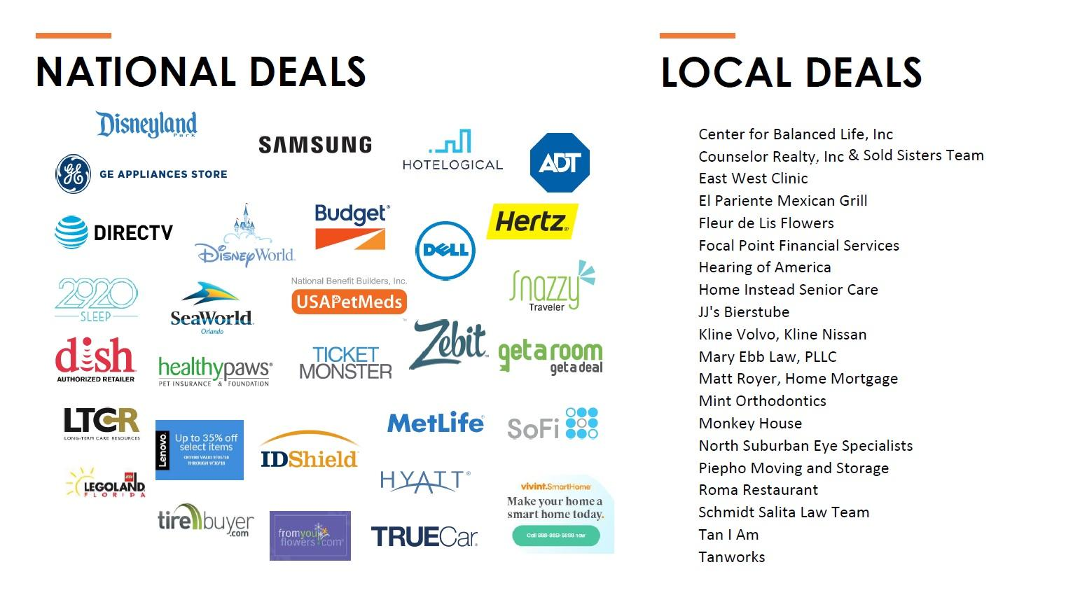 Several logos of companies where alumni can find deals including Disneyland, Samsung, SeaWorld, Hyatt, and others. Local deals include Counselor Realty, Hearing of America, Tanworks, and others.