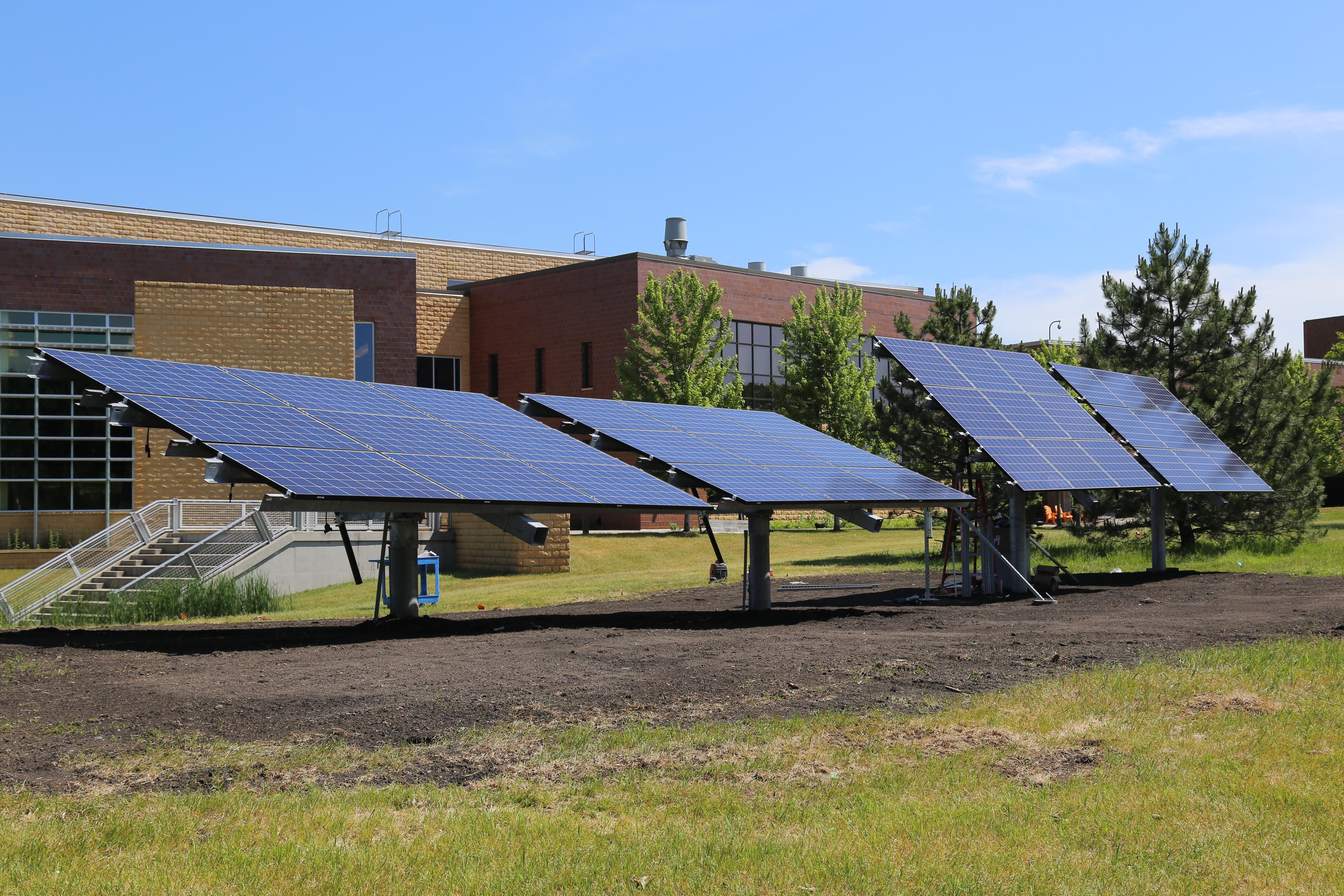Image of solar panels in front of Century College.