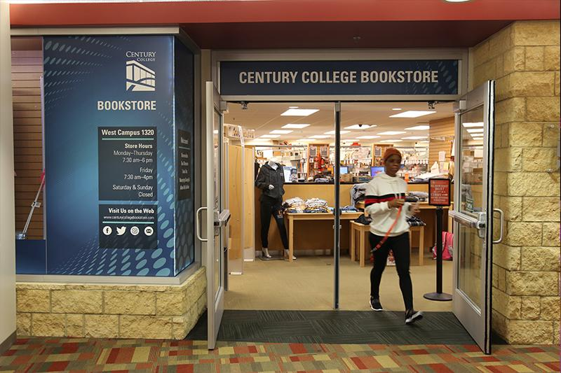 The entrance to the bookstore at Century College.