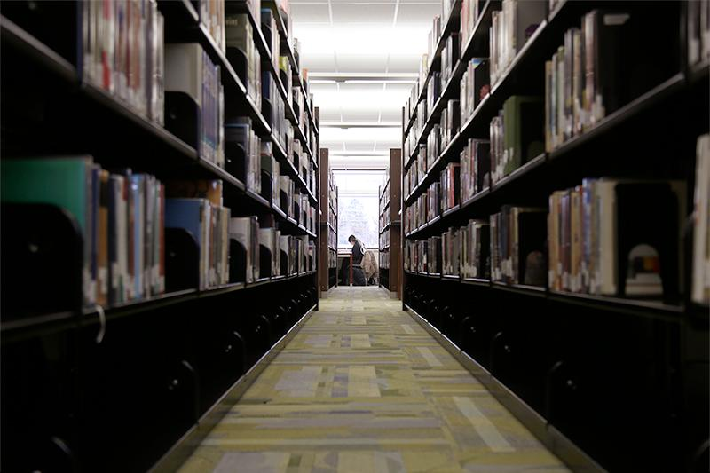 The stacks in the Century College library.