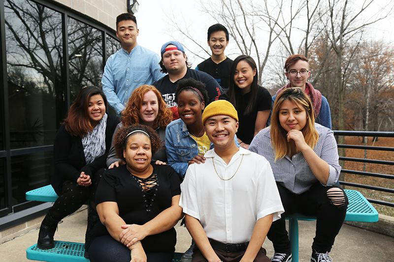 Group shot of the Student Senate members outdoors in the Fall.