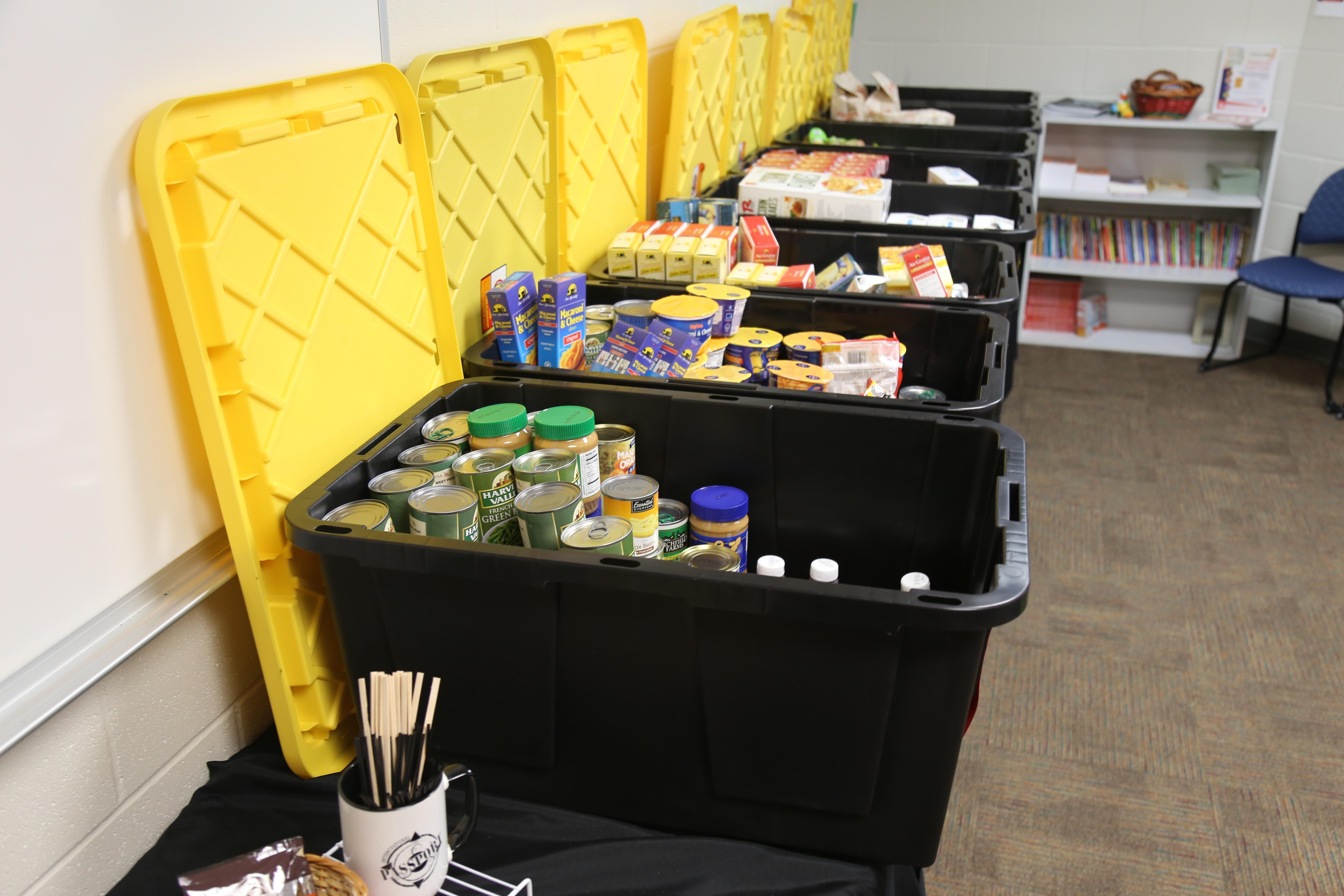 Images of plastic tubs at the Resource & Support Center.