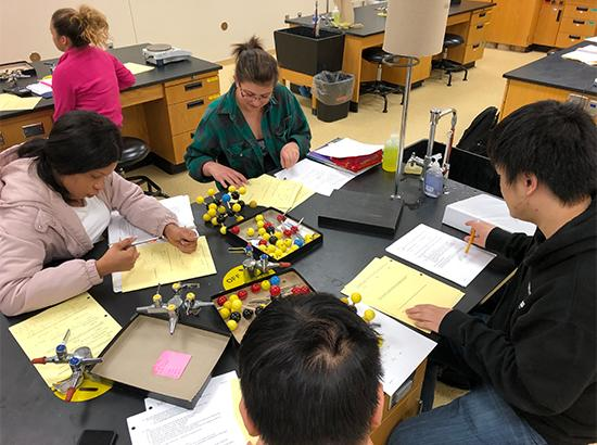 Students in a Chemistry lab studying molecules.