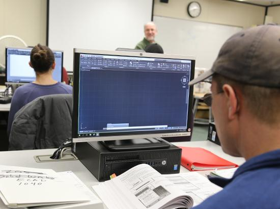 Student working in a CAD program during class.