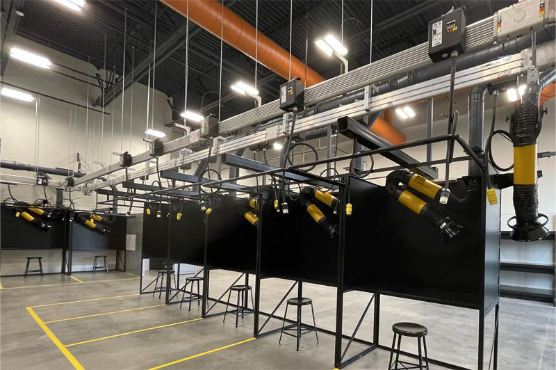 A panoramic view of the Welding Stations used on campus for Welding courses at Century College.