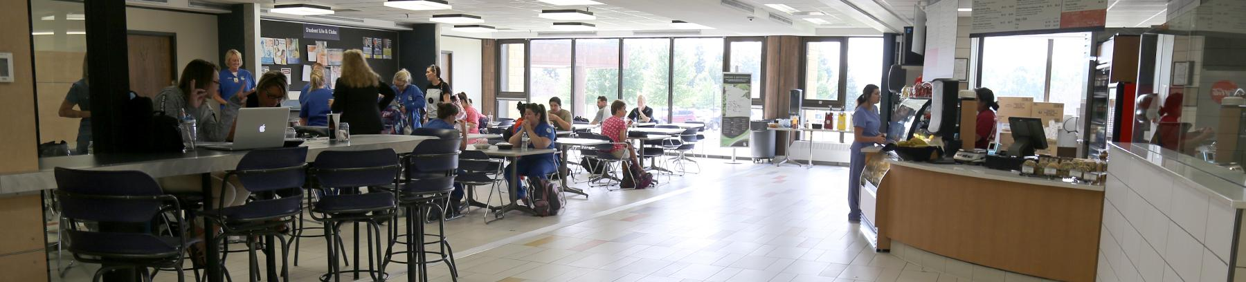 Students and faculty in the East Campus cafeteria.