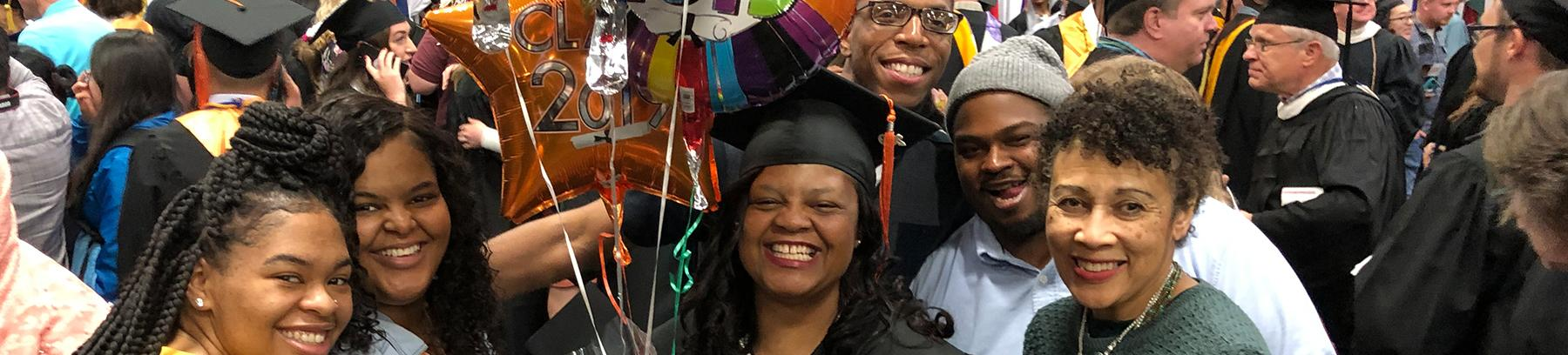 Family photo with 2019 college graduate.