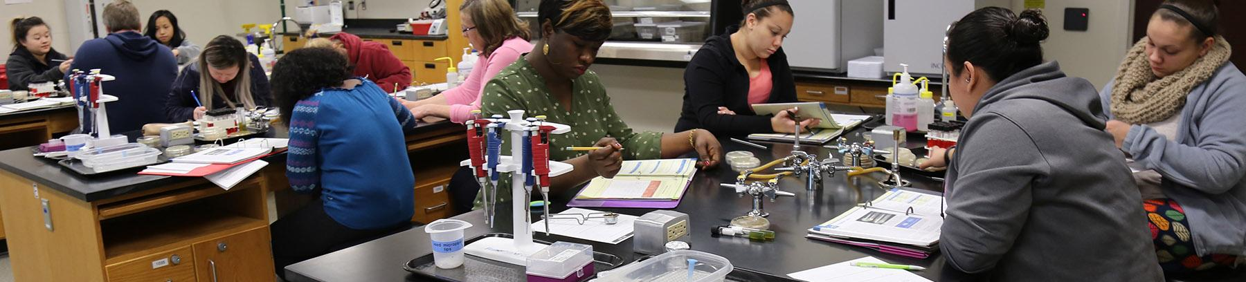 Biology students at Century College.