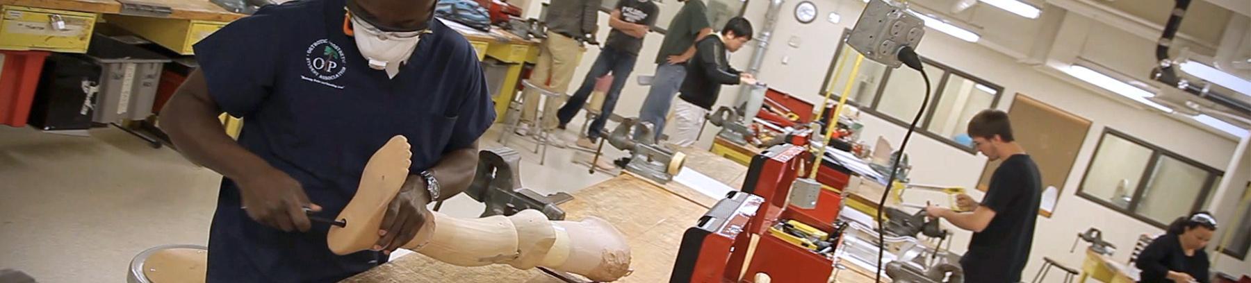 Image of student working on prosthetics.