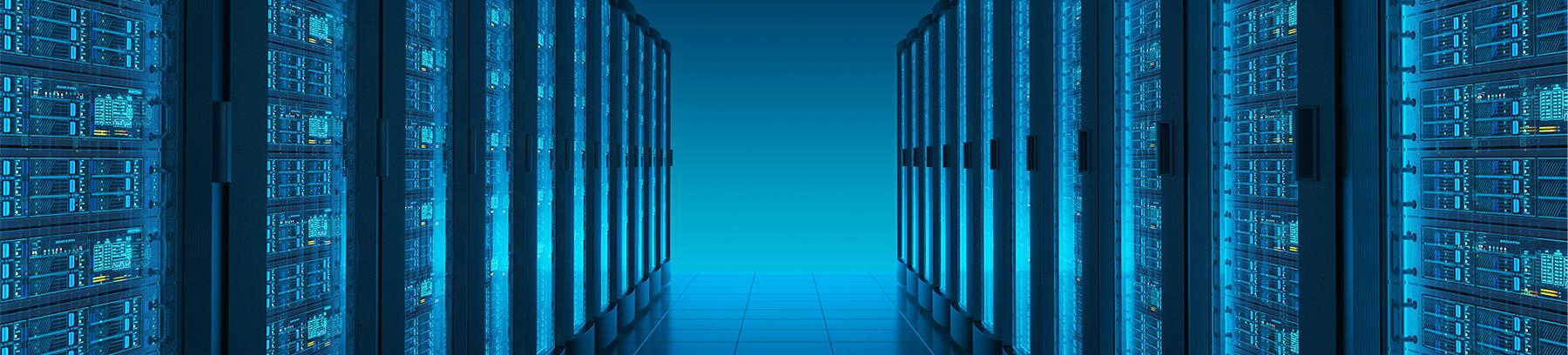 Stylized image of a server room.