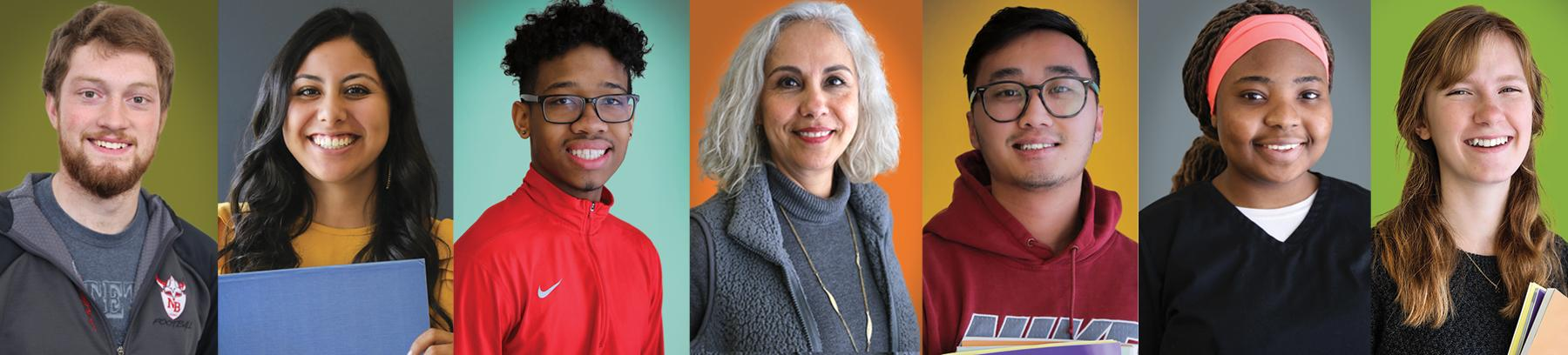 Century College student portraits with a bright colored background