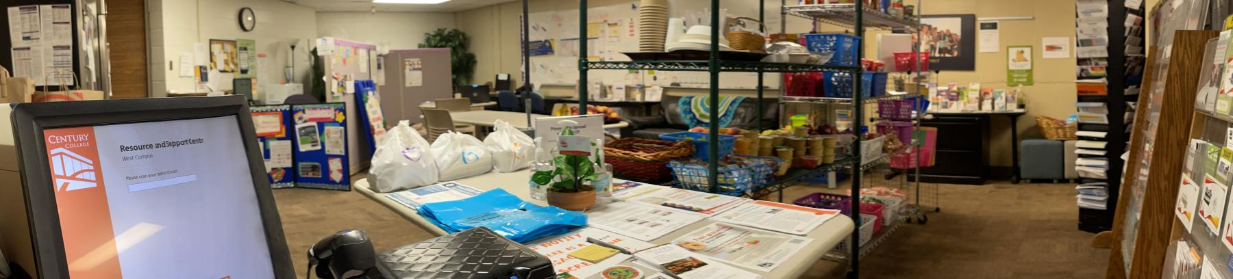 Panoramic view of the Resource Center and the various offerings it provides students.