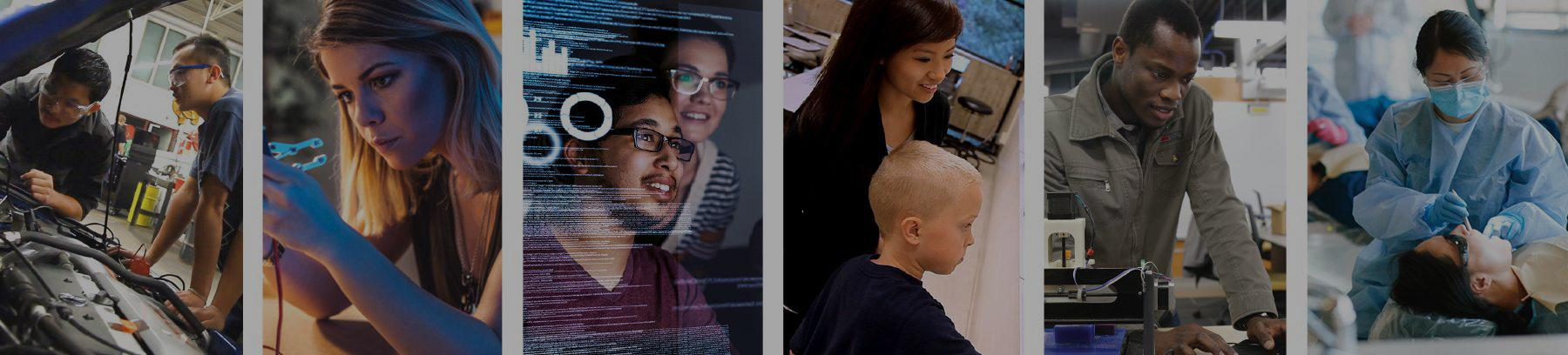 Six images of students learning: students working on a car in an automotive class, a student working in the Fab Lab, an Additive and Digital Manufacturing student, a Dental Hygiene student, Big Data students, and an Education student teaching.