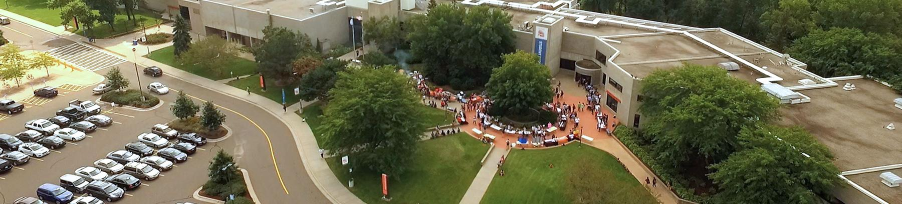 Aerial view of the West Campus main entrance at Century College.