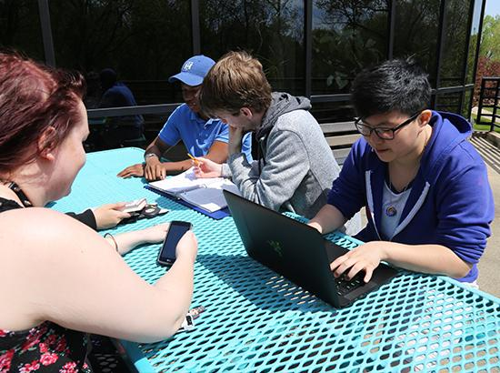 Students outdoors studying with computers and notebooks at a bright blue picnic table.