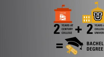 Graphic showing that two years of a community college degree transfers to a university