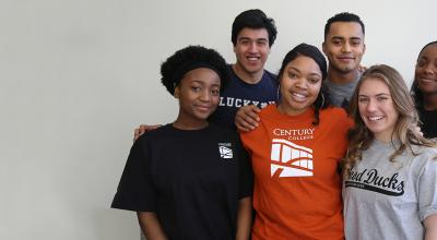 Group of diverse college students.