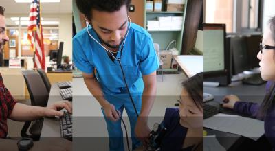 Three images: student working on a computer in the Veteran's Center, Medical Assistant student taking a patient's blood pressure, and a student in the computer lab