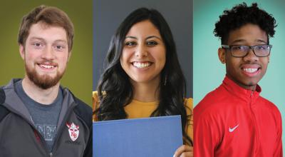 Three student portraits on brightly colored backgrounds.